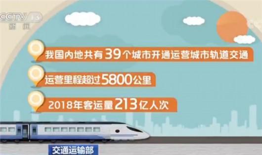 交通运输部:39个城市开通运营城市轨道交通