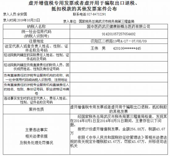 国中医药武汉健康新概念医药接受27份虚开增值税发票涉案金额超250万元被罚43万元